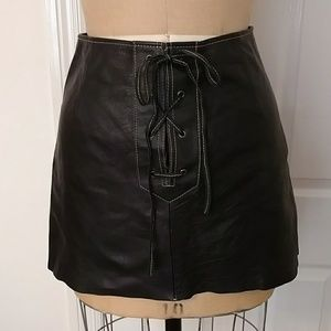 Free People Leather Lace Front Skirt